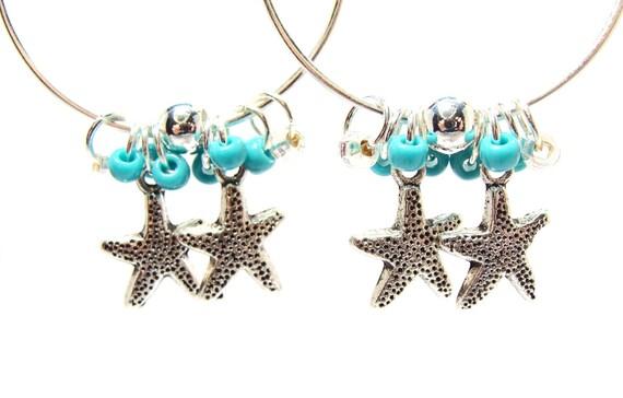 Cute Aqua Beach Hoop Earrings with Tibetan Silver Starfish