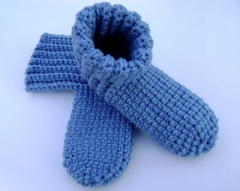 Crochet Slippers Booties Adult House Shoes Country Blue Men Women Teens