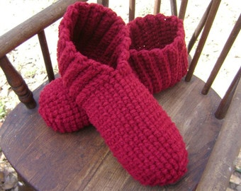 Crochet Adult Slippers Booties House Shoes Burgundy Adult Men Women Teens