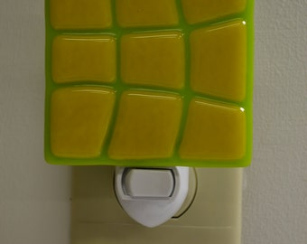 Yellow on Green Warp Glass Night Light
