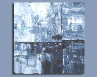 minimalist abstract art, abstract painting, geometric painting, modern art, paynes gray and white, 24x24, Slate