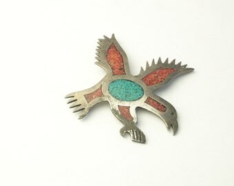 Vintage 1970's Sterling Silver Turquoise Carnelian Inlay Eagle Slide Bolo Pendant Mens Fine Jewelry Gift For Him on Etsy