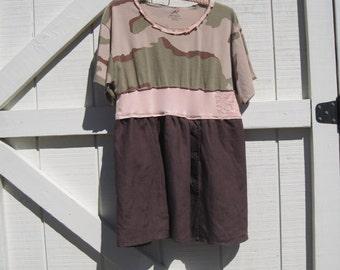 Mini camo, Camo tunic mini, Boho Camouflage tunic, cowgirl gypsy dress, M-L Ready to ship