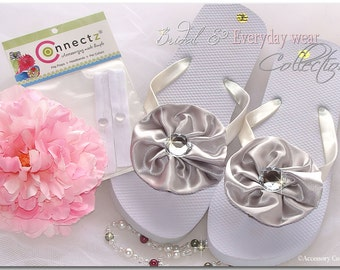 Accessory Connectz Custom Bridal Wedding Party Bride Gift Flip Flops Flowers Satin Bows Toes Clips Rhinestones 2 Clips