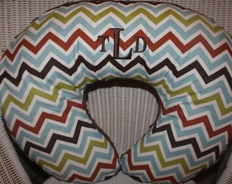 Nursing Pillow Cover -Personalized Woodland Chevrons with Brown Minky Boppy Cover