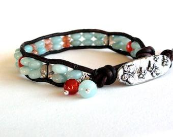 Seaside Garden - Amazonite, Sunstone and Carnelian Leather Wrap Bracelet