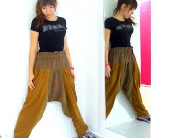 Brown Pants Women pants Pants baggy Unisex Pants Casual Pants Recycled  pants  loose pants  drop crotch  loose bottom Harem Pants trousers.