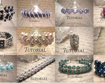 DIY Bundle of 12 PDF Tutorials: Right Angle Weave Bracelets and Rings, Save 50%, Instant Download