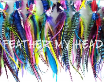 100 Pc Wide Feather Hair Extensions With Fluff: Colorful Grizzly Feathers 5-7 Inches Long