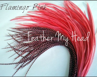 10 Piece Flamingo Pink Wholesale Whiting Bright Grizzly Feather Extensions