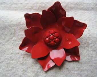 Pretty Vintage Red Enamel Flower Brooch
