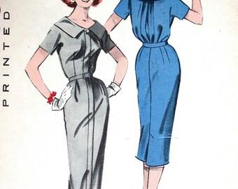 "Butterick Dress Pattern No 8527 UNCUT Vintage 1950s Size 16 Bust 36"" Spectator Hidden Front Zipper Short Kimono Sleeves Slim Skirt"