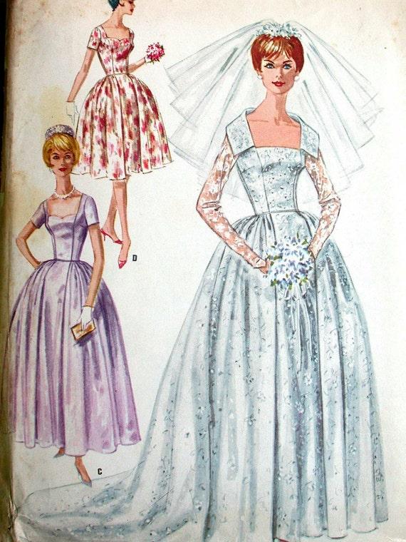 Mccalls wedding dress pattern no 6126 uncut vintage 1960s size for Wedding dress patterns mccalls