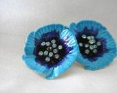 Blue Flower Earrings With Rhinestones