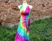 Rainbow Maxi Dress, Tie Dye Dress, Hippie Dress, Boho Maxi Dress
