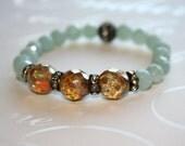 Boho Bracelet, Amazonite bracelet, Aqua bracelet, Stacking bracelet, Picasso bead bracelet, Champagne Opal