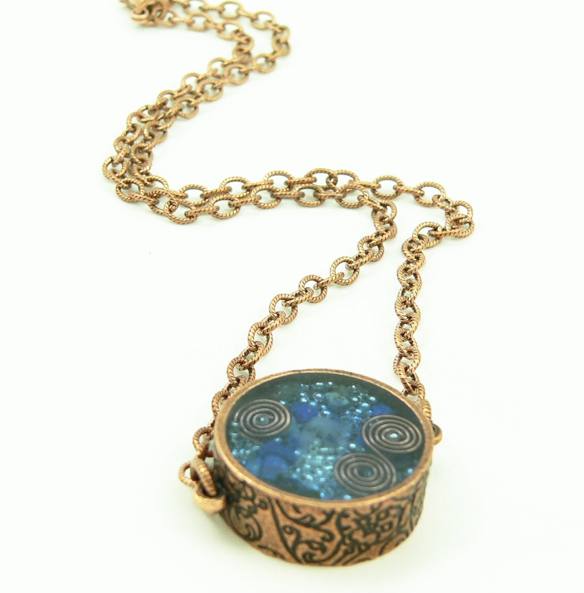 Orgone Energy Pendant Double Sided Antique Copper With Lapis