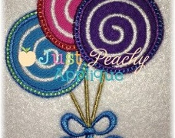 Lollipop Trio Machine Embroidery Applique Design Buy 2 for 4! Use Coupon Code 50OFF