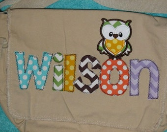 Owl Diaper Bag- Purple, Pink, and Brown Raw Edge Messenger Bag- Gender Neutral- Personalized Name and Owl Applique