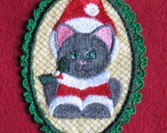Lace Ornament Kitten Embroidered