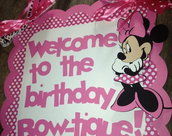 Minnie Mouse birthday door sign pink polka dots with personalized message