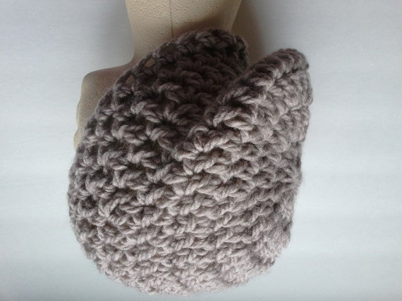 Taupe Slouchy Hat With Chunky Yarn Crochet Beret Soft And