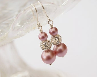 Ella Pastel Pink Pearl Earrings Wedding Jewelry Bridal Earings Dangle Drop Bridesmaid Jewellery Gift Rose Blush Pink  Rhinestone Crystal