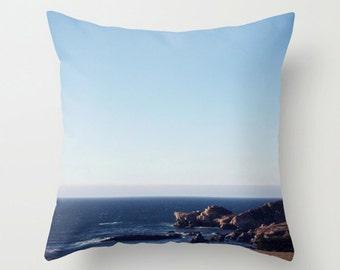 Coastal Ombre Sofa Pillow, Beach House Decor, Blue Accent Pillow, Pacific Ocean Throw Pillow Cover, 18x18 22x22 Decorative Pillow Cushion