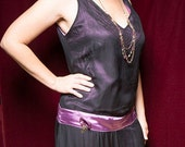"""Flapper Costume Ensemble - Sheer Black and Dusty Rose with 10"""" chainette fringe  Halloween"""