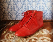 Red Leather Ankle Boots size 8.5 / 9
