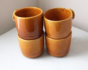 Harvest Gold Mugs Speckled Handmade Pottery/ Glazed Ceramic Retro Set of 4
