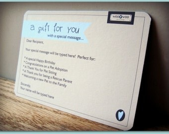 Personalized Gift Card - Gift Wrap - Purchase this listing in conjunction with your Woo Woo Workshop order