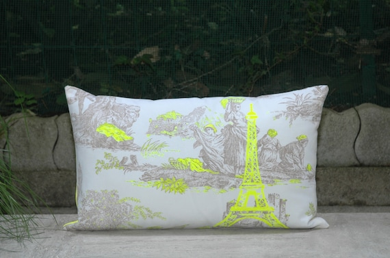 Neon Yellow Paris Eiffel Tower Printed on French Toile de Jouy Pillow Cover