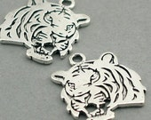Tiger Head Charms Pendant Bead Antique Silver 2pc base metal beads 24X27mm CM0350S