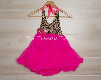 Soft Fluffy Hot Pink Leopard Petti Dress  **in stock**