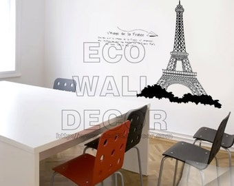 PEEL and STICK Removable Vinyl Wall Sticker Mural Decal Art - I Love Paris Eiffel Tower