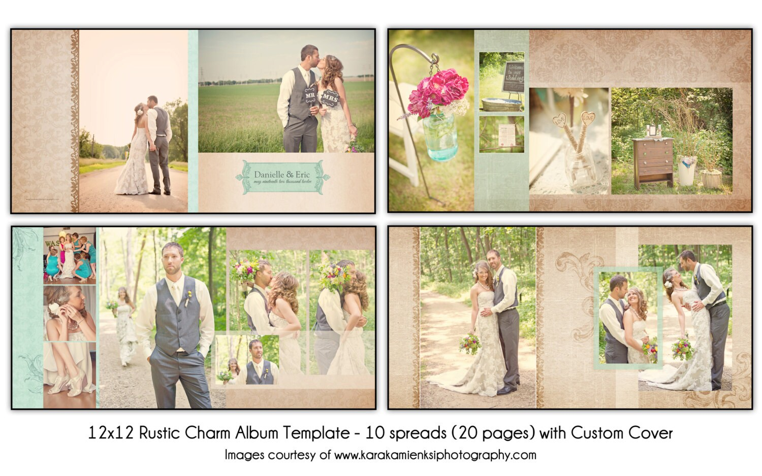 Rustic charm 12x12 wedding album template 10 spread for Wedding photo album templates in photoshop