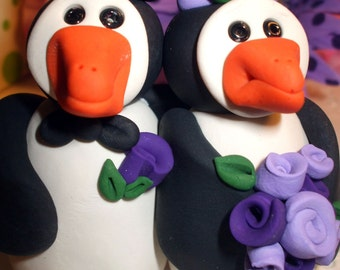 Wedding Cake topper penguins in purple polymer clay, Your choice of colors, Polymer Clay  2016