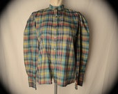 Edwardian Inspired Rainbow Colors Madras Puff Sleeves Blouse size M