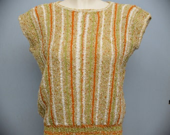 70s Vintage White, Green & Orange Knit Stripy Jumper size M