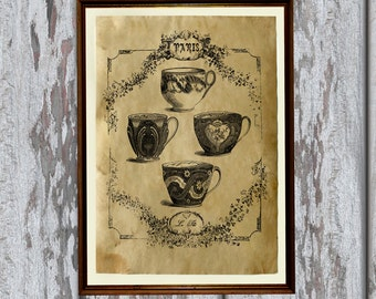 Vintage tea cups art print Antique paper Antiqued decor AK264