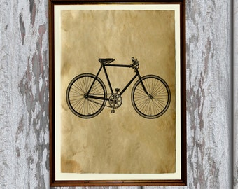 Vintage bicycle art print Antique paper Antiqued decor AK75