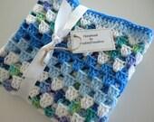 Baby Blanket Crochet Blues White Multi Child Stroller Carriage Car Size 32 X 32 Handmade Granny Square