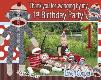 Sock Monkey thank you Boy - Sock Monkey thank you - 1st Birthday Party thank you - Sock Monkey Birthday  - Sock Monkey Party