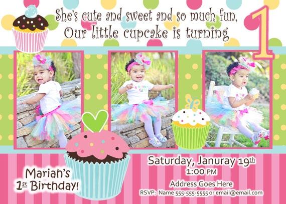 Cupcake Invite Birthday Party Sweet Treats Cupcake invitation – 1 Birthday Invitation Cards