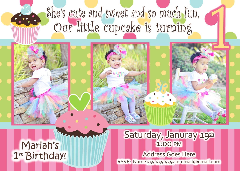 Cupcake Invite Birthday Party Sweet Treats Cupcake invitation – 1 Birthday Party Invitations