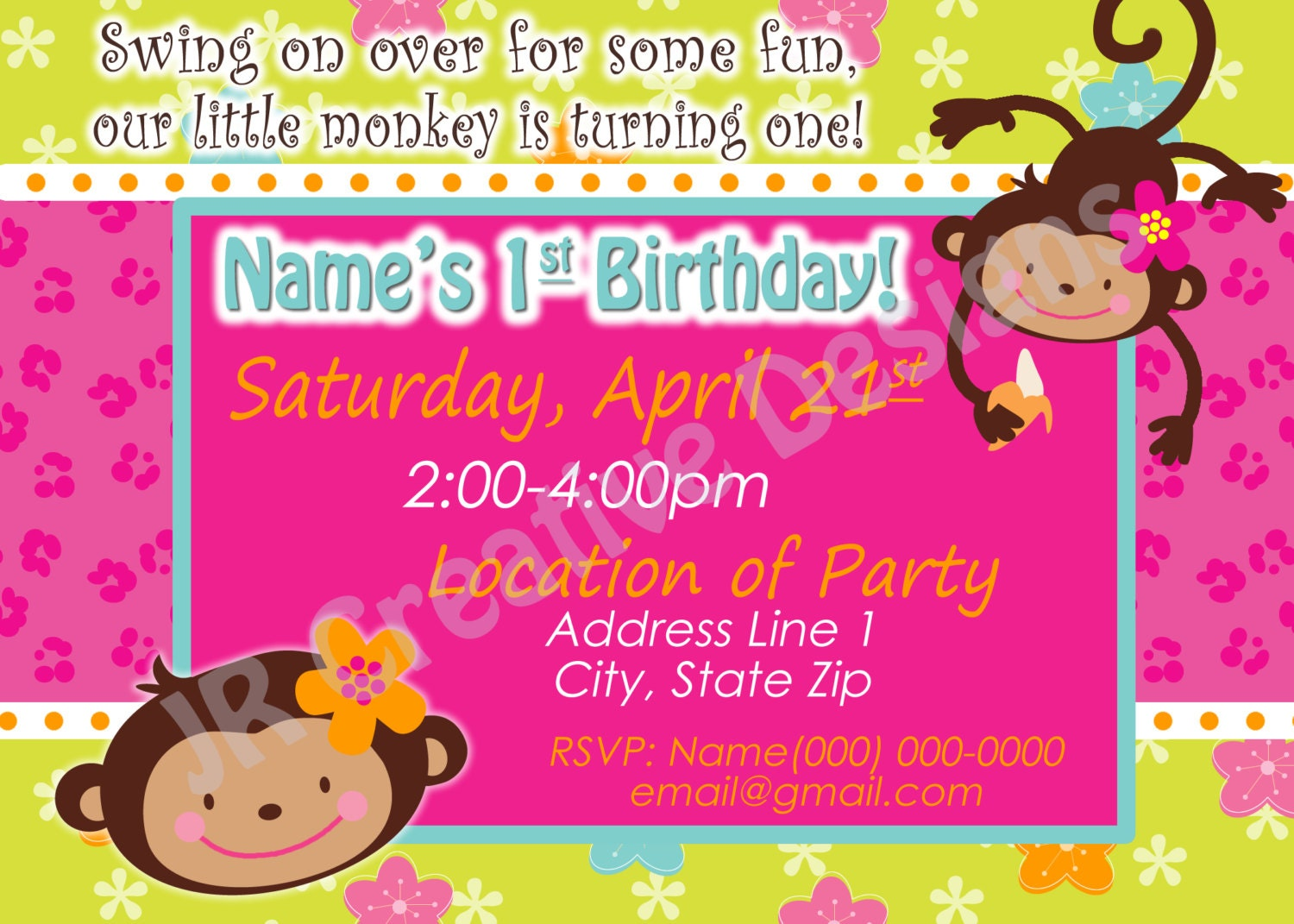 Invitation Card 1 Year Old Birthday | purplemoon.co