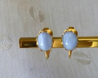 Pastel Blue Stone Clip Park Lane Earrings 1980s