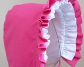 Baby Bonnet- Hot Pink and White Reversible