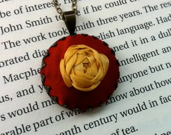 Red Embroidered Jewelry, Valentines Day Jewelry Rose Pendant Necklace - Silk Ribbon Embroidery by BeanTown Embroidery